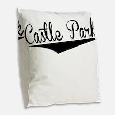 Castle Park, Retro, Burlap Throw Pillow