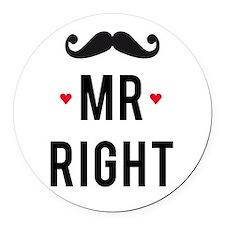 Mr right mustache Round Car Magnet