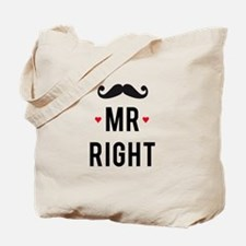 Mr right mustache Tote Bag