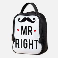 Mr right mustache Neoprene Lunch Bag