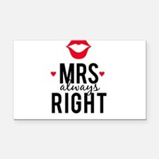 Mrs always right red lips Rectangle Car Magnet
