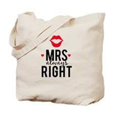 Mrs always right red lips Tote Bag