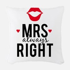 Mrs always right red lips Woven Throw Pillow