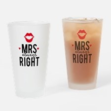 Mrs always right red lips Drinking Glass