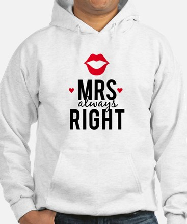 Mrs always right red lips Hoodie