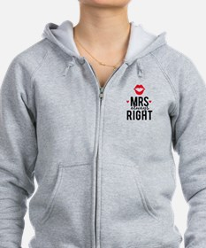 Mrs always right red lips Zip Hoodie
