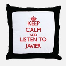 Keep Calm and Listen to Javier Throw Pillow