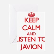 Keep Calm and Listen to Javion Greeting Cards