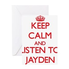 Keep Calm and Listen to Jayden Greeting Cards