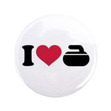 "I love Curling stone 3.5"" Button"
