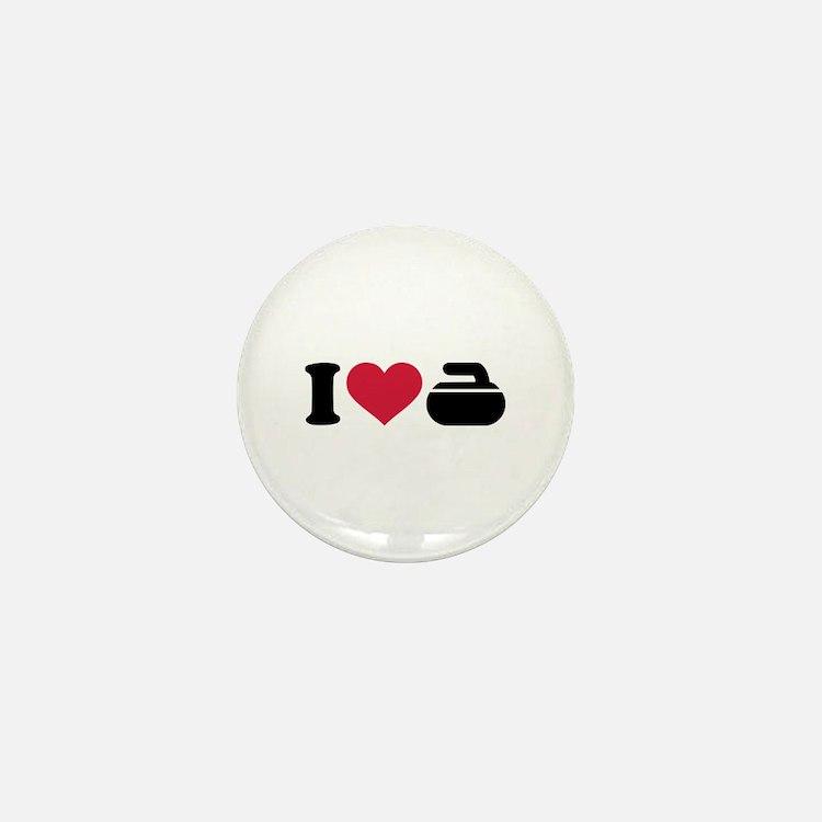 I love Curling stone Mini Button