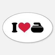 I love Curling stone Sticker (Oval)