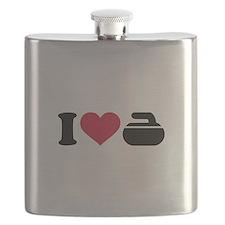 I love Curling stone Flask