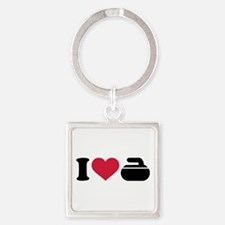 I love Curling stone Square Keychain