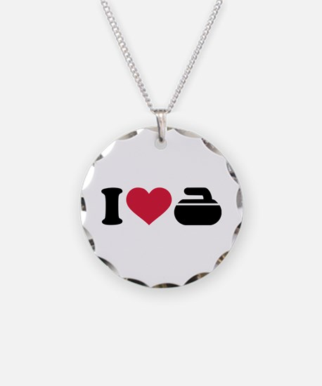 I love Curling stone Necklace