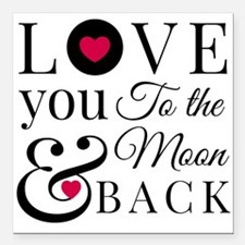 """To the Moon Back Square Car Magnet 3"""" x 3"""""""