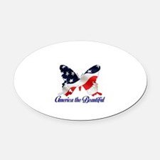 America the Butterfly Oval Car Magnet