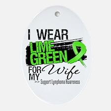 Wife Lymphoma Ribbon Ornament (Oval)