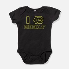 I Heart [Love] Geeks ASCII TEXT ART Baby Bodysuit