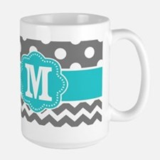 Gray Teal Dots Chevron Monogram Mugs