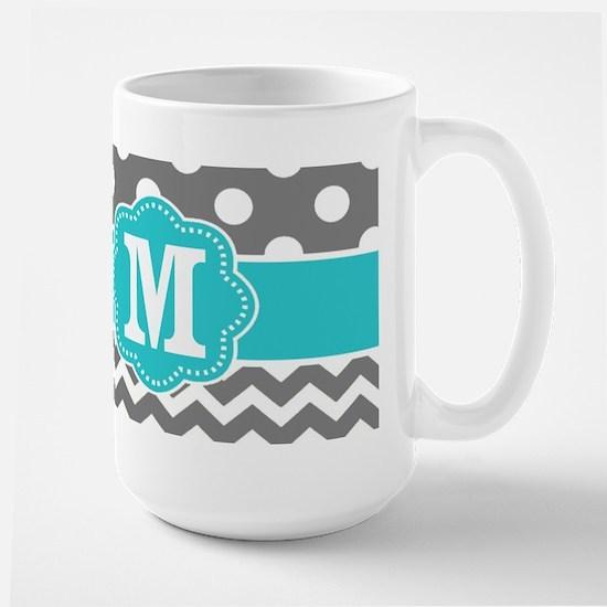 Gray Teal Dots Chevron Monogram Mugs