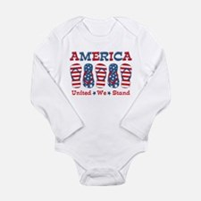 Flip Flop America Long Sleeve Infant Bodysuit