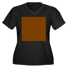 Brown Solid Color Plus Size T-Shirt
