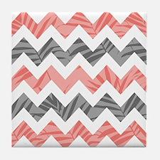 Chevron coral gray leaves Tile Coaster
