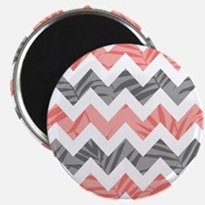Chevron coral gray leaves Magnets