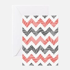 Chevron coral gray leaves Greeting Cards