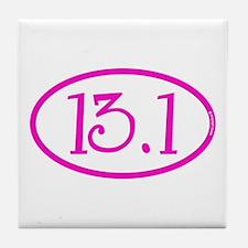 13.1 Half Marathon Pink Girly Tile Coaster