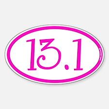 13.1 Half Marathon Pink Girly Sticker (Oval)