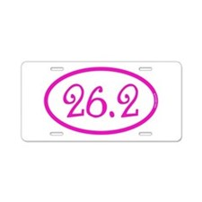 26.2 Marathon Pink Girly Aluminum License Plate