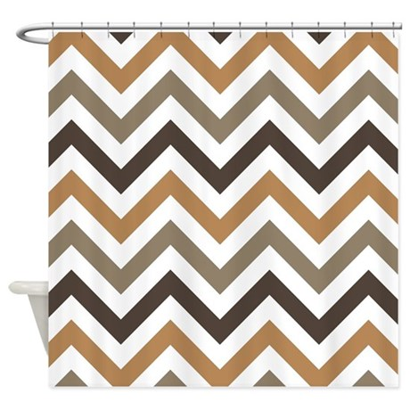 Brown And White Chevrons Shower Curtain By Erics Designz