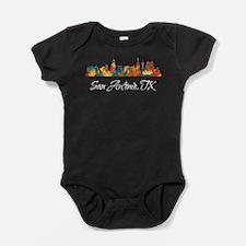 San Antonio Texas Skyline Baby Bodysuit