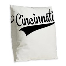 Cincinnati, Retro, Burlap Throw Pillow