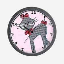Ribbon Kitty Wall Clock