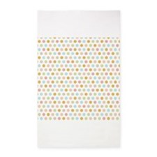 Pink Blue Orange Pastel Polka Dots 3'x5' Area Rug