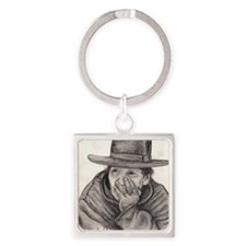 The Thinker Square Keychain