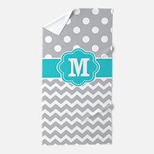 Gray Teal Dots Chevron Monogram Beach Towel