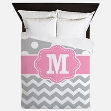 Gray Pink Polka Dots Chevron Monogram Queen Duvet