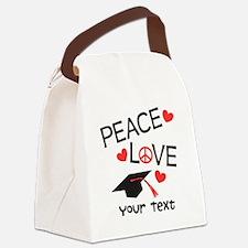 Personalize Peace Love Grad Canvas Lunch Bag
