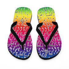 Rainbow Music Flip Flops