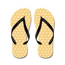Golden Yellow and White Polka Dots Flip Flops