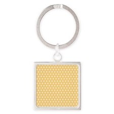 Golden Yellow and White Polka Dots Keychains