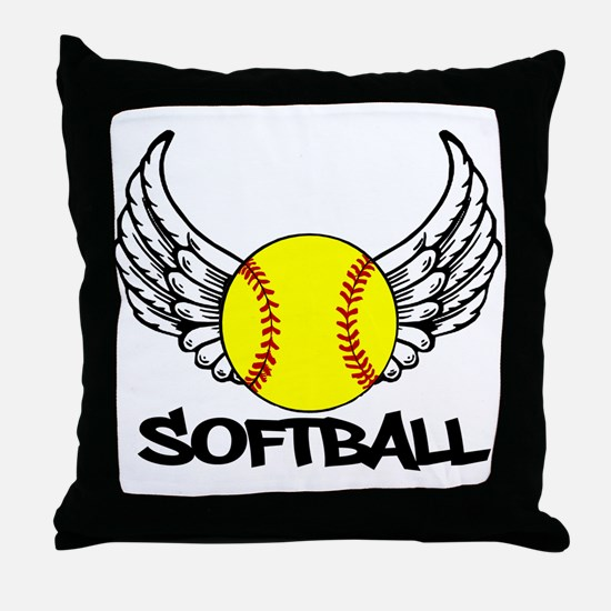 Softball with Wings Throw Pillow
