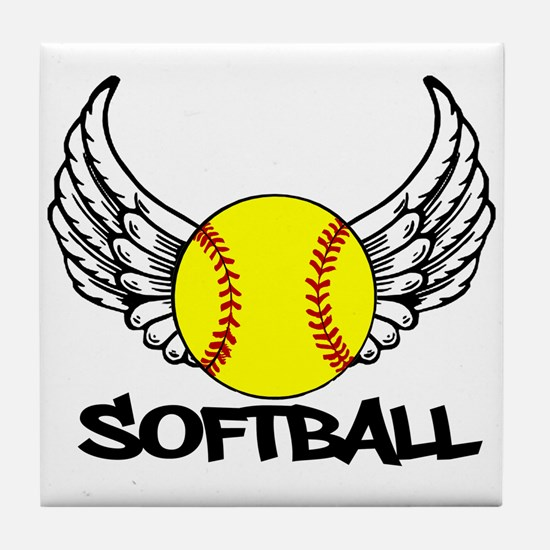 Softball with Wings Tile Coaster