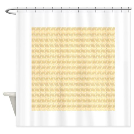 Yellow And White Retro Stripes Shower Curtain By Clipartmegamart