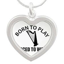 harp Musical Instrument Des Silver Heart Necklace