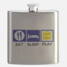 Eat, Sleep, Play Softball Flask